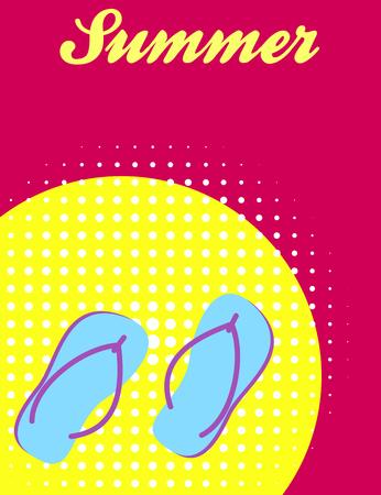 flops: Summer banner design with flip flops Stock Photo