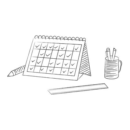 calendar design: Desk calendar schedule sketch style illustration design Stock Photo