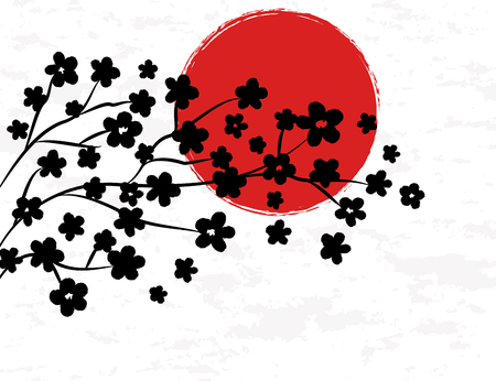 budding: Japanese background with red sun and black flowers