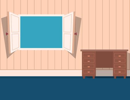 open window: Cartoon style open window in a room Stock Photo