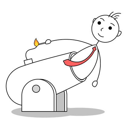 igniting: Cartoon business man lighting a cannon