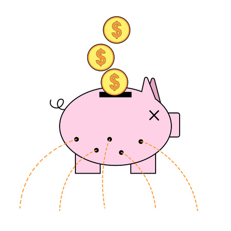 unable: Piggy bank with holes. Unable to save concept. Stock Photo