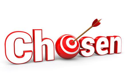 chosen: 3d render of arrow in a target sphere in word chosen Stock Photo