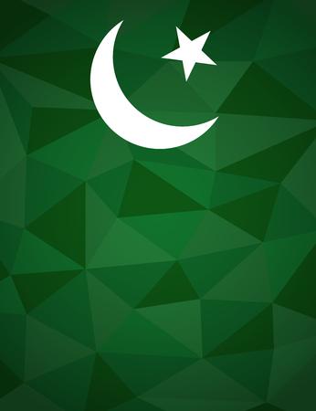 Pakistan: Pakistan flag themed patriotic geometric triangles background Stock Photo