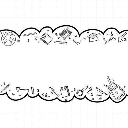 education: Education doodle banner design