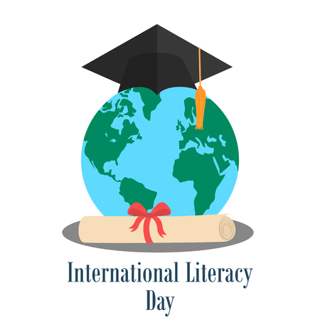 literacy: Globe with graduation hat and diploma. International literacy day design Stock Photo