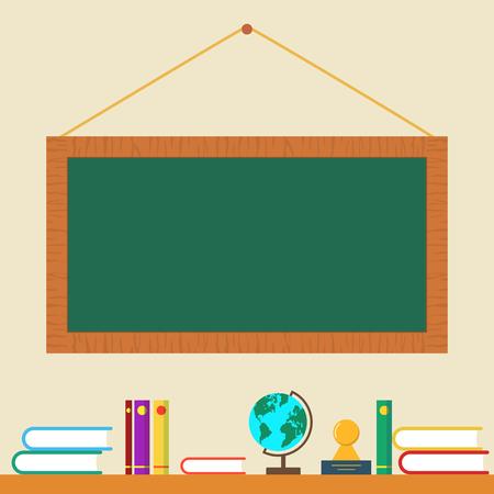 green board: Green board and books on shelf Stock Photo