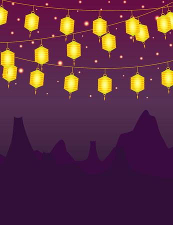 autumn festival: Mid autumn festival lanterns background Stock Photo
