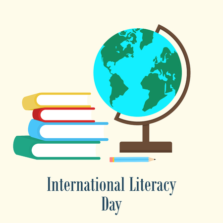 literacy: Books and earth globe. International literacy day concept Stock Photo
