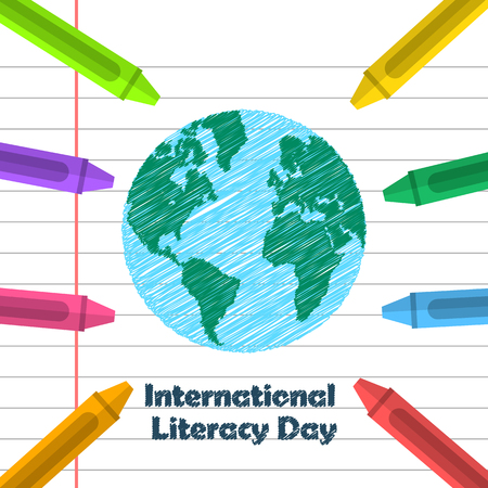 literacy: Globe drawing and crayons. International Literacy day design Stock Photo