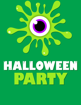 party cartoon: Green splatter eye Halloween party flyer