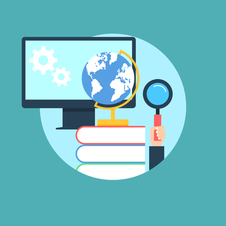 education: Online education concept flat style illustration Stock Photo