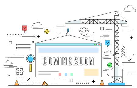 Website construction concept line style illustration