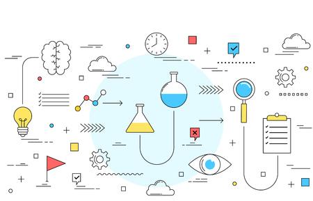 experimentation: Testing and experimentation concept line style illustration design
