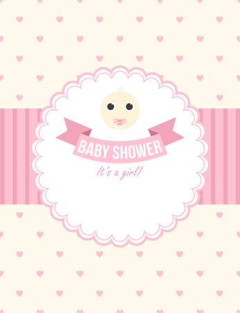 baby girl: Baby shower card design for baby girl