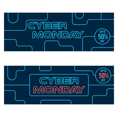 circuit sale: Cyber Monday sale neon style web banners design
