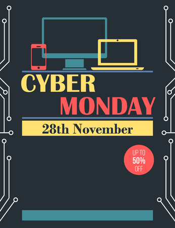 circuit sale: Vintage style Cyber Monday flyer and poster design Stock Photo