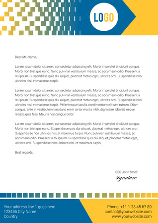 Modern pixel style letterhead design in blue and yellow color