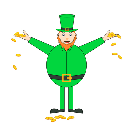 sain: Cartoon sain patrick character with golden coins