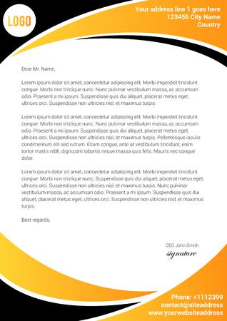 Modèle de lettre jaune et noir