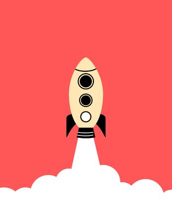 Flat style minimal poster of a rocket rising
