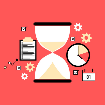 Time management concept slat style illustration