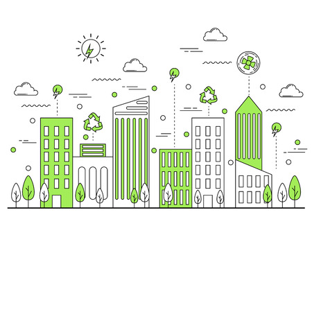 futuristic city: Green eco friendly city concept line style illustration Illustration