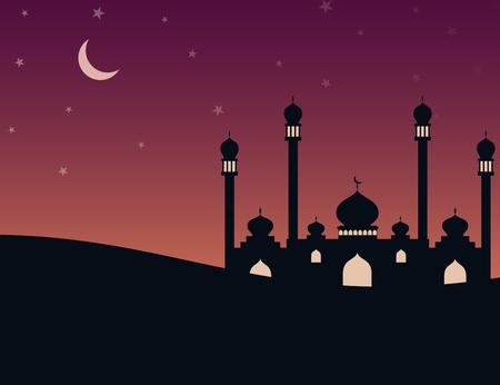 Moschee Silhouette am Abend mit Sternen und Neumond Standard-Bild - 78075159