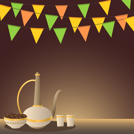 Ramadan iftar concept illustration with traditional arabian utensils and dates