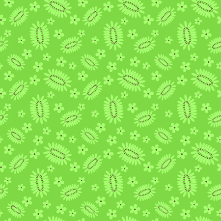 Kiwi fruit and flowers green summer themed seamless pattern Illustration
