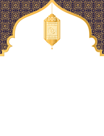 Golden decorative art and lantern islamic background with blank space Illustration