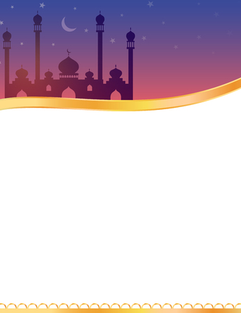 An Islamic banner design with mosque