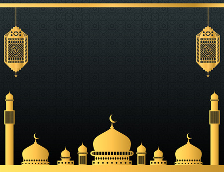 Luxury Islamic background design with golden mosque and hanging lanterns. Illustration