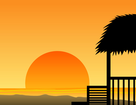 Summer beach sunset with hut silhouette Illustration