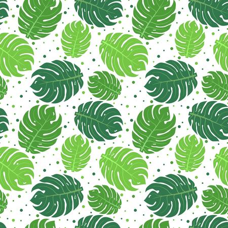 broad leaf: Tropical green leaves seamless pattern