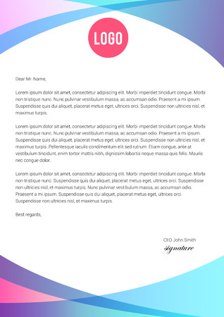 Vibrant blue and pink letterhead template