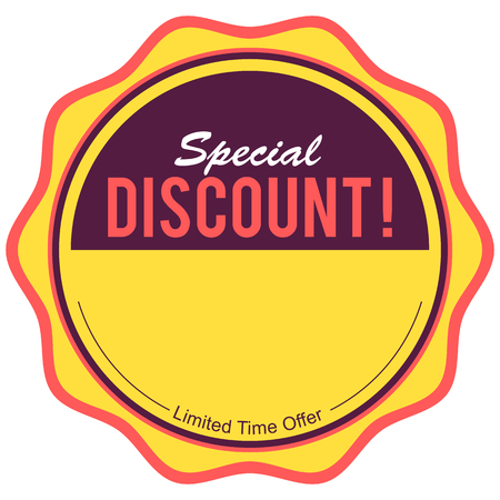 Yellow sale and discount round sticker