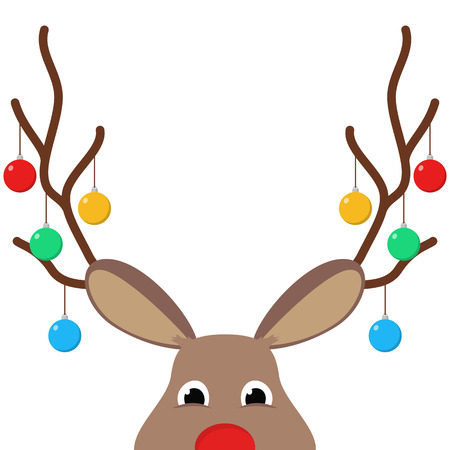 Reindeer or deer head with christmas decorations Illustration