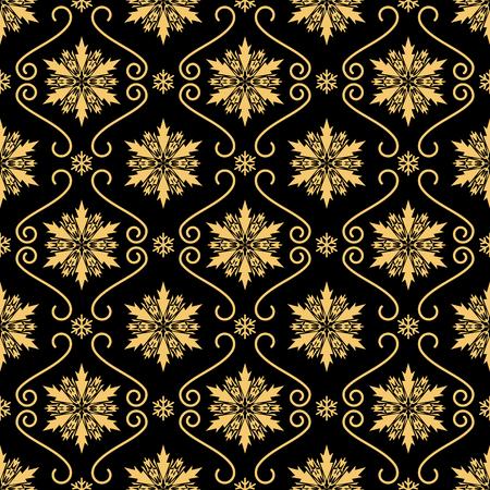 Gold snowflakes luxurious seamless pattern.
