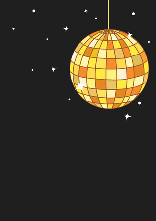 Golden disco ball in black background with copy space
