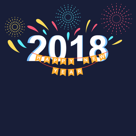 Happy new year 2018 banner with fireworks themed vector illustration