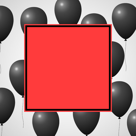 Black balloons and red square banner Vector illustration.