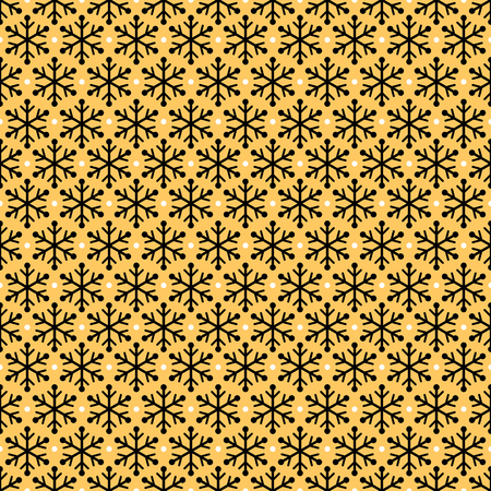 Black and gold snowflakes seamless pattern