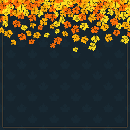 Autumn themed banner with colorful maple leaves