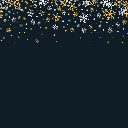 Gold and white snowflakes horizontal seamless banner