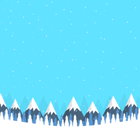 Winter landscape banner with mountains and snowfall