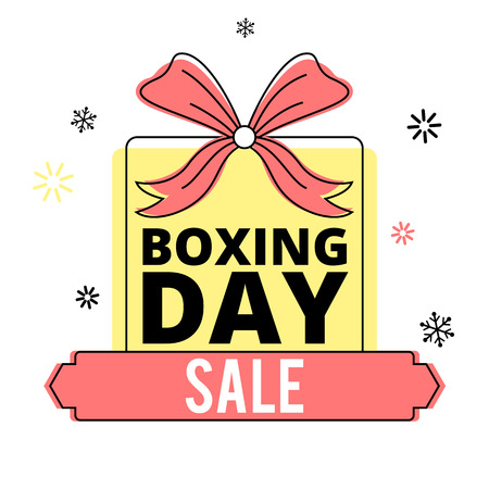 Boxing day sale banner with a gift box