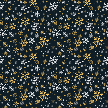 White and gold snowflakes seamless pattern Illustration