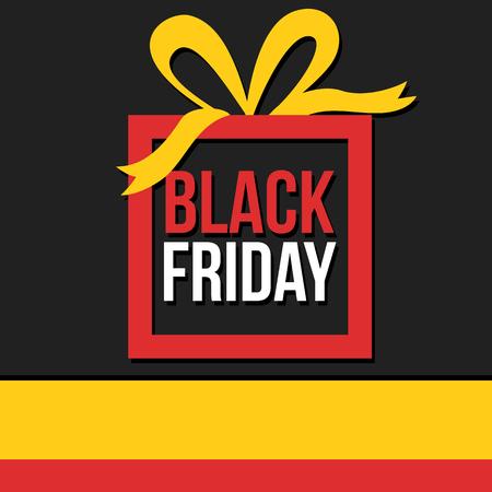 Gift box Black Friday sale banner Illustration