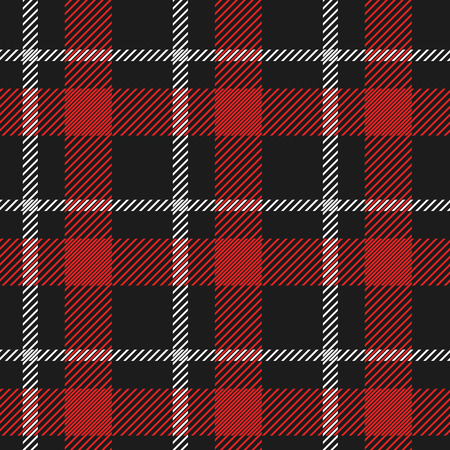 Red and white plaid pattern on black background Illustration